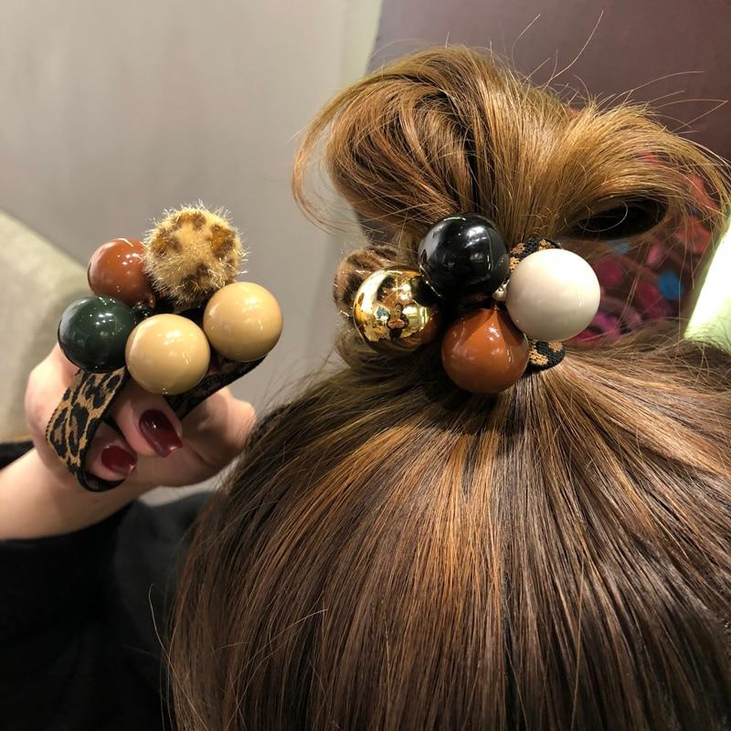 Women Elegant Vintage Pearls Balls Elastic Hair Bands Ponytail Holder Scrunchie Rubber Bands Headband Fashion Hair Accessories