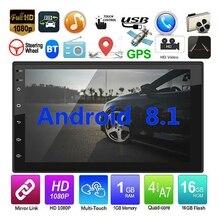 Android 8,1 WiFi gps навигация 7 дюймов 2Din четырехъядерный автомобильный стерео MP5 плеер FM радио(карта Северной Америки