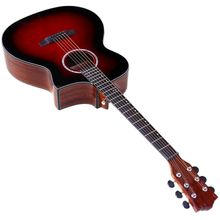 Red 6 strings electric acoustic guitar 40 inch cutway design high gloss finish folk guitar can add EQ with flaw bubble hard case