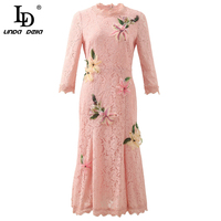 LD LINDA DELLA Fashion Runway Autumn Vintage Dress Women's 3/4 Sleeve Elegant Beading Appliques Ladies Pink Lace Midi Dresses