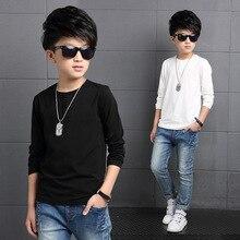 Однотонная футболка с круглым вырезом для мальчиков; детская футболка с длинными рукавами в Корейском стиле; весенне-осенняя футболка для мальчиков