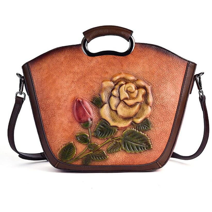 Femmes de luxe en cuir véritable sacs à main dames rétro élégant fleur conçoit épaule sac de messager en cuir de vache à la main femmes sacs