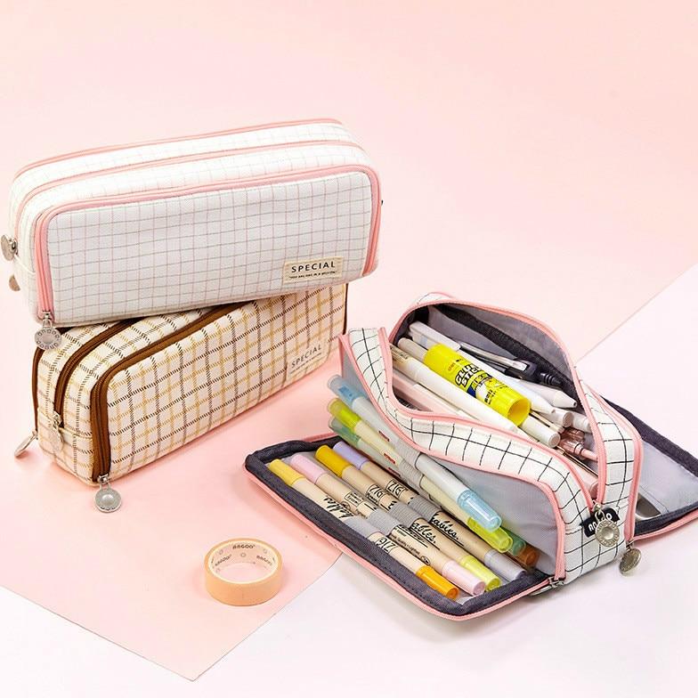 Large Capacity 40Pcs Pen Case Canvas Bag  Box Pencil Pouch  3