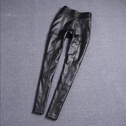 M-XL Elastico in Vita Reale Pelle di Pecora Del Motociclo Pantaloni di Marca di Moda Femminile Ha Colpito Il Colore Del Cuoio Genuino Pantaloni Wq852 Dropship