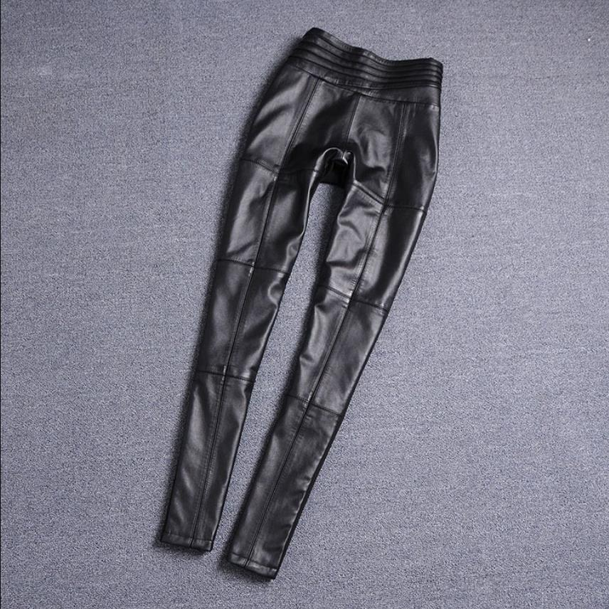 S-4XL Elastic waist pencil style real Sheep leather Pants female fashion brand full length Genuine leather pants F966