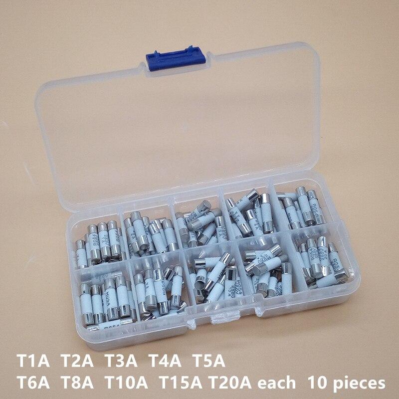 100PCS Cerâmica Fusíveis Kit Golpe Lento 5x20mm 1A 2A 3A 4A 5A 6A 8A 10A 15A 20A 250V 5*20 Protetora Conjunto Tubo De Seguros