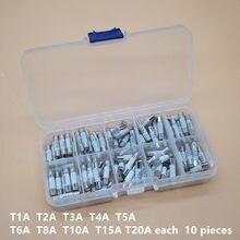 100PCS Ceramics Fuses Kit Slow Blow 5x20mm 1A 2A 3A 4A 5A 6A 8A 10A 15A 20A 250V 5*20 Protective Insurance Tube Set