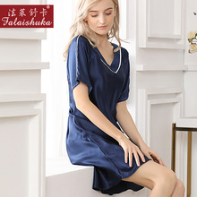 16 momme 100% mulberry silk sleepwear women night dress sexy short sleeve V-neck elegant silky women princess nightgowns S5637