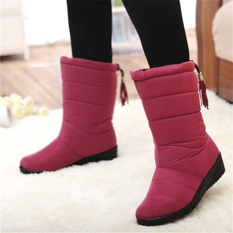 New Mid-calf Boots Plush Warm Snow Boots Female Winter Shoes Women Boots Waterproof Women Winter Boots Plus Size 43 Botas Mujer