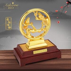 Image 4 - 3Dゴールドカササギ置物装飾品 24 18kゴールド箔結婚式の装飾ラッキー富デスクトップ工芸品ホームオフィスの装飾の結婚ギフト