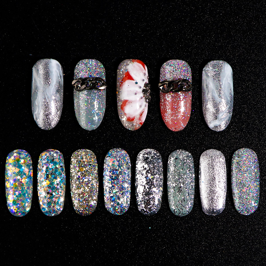 Image 5 - 8pcs Laser Sequins for Nails Silver Glitter Chrome Pigment Holo Rainbow Paillette Flakes Mirror Powder Nail Art Dust JI1506 13-in Nail Glitter from Beauty & Health