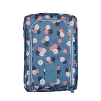 Portable Waterproof Travel Shoe Bag Nylon Storage Bag Flower Printing Pouch Convenient Storage Organizer Shoes Sorting Zipper image