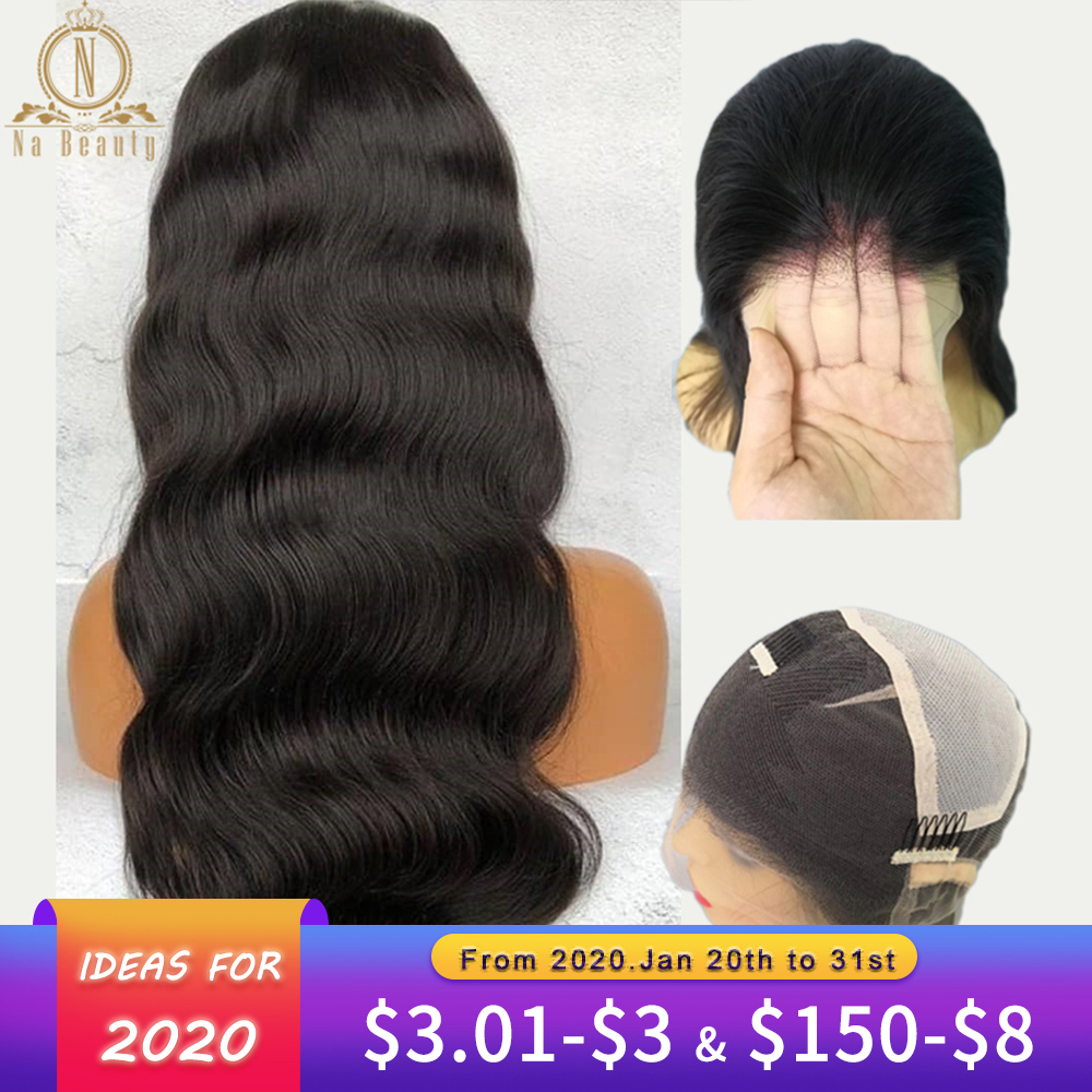Transparent Lace Wig Full Lace Wigs Body Wave Preplucked For Black Women Peruvian Human Hair Wig Bleached Knots Nabeauty Remy150