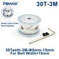Ременный ролик POWGE HTD 3M  30 зубцов  диаметр отверстия 5/6/6  35/8/10/12/14/15 мм для ширины 15 мм 3 м  синхронный ремень HTD3M  ролик 30 T 30 зубцов