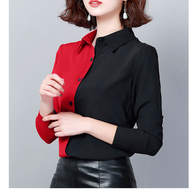 2019 Autumn Fashion Women Shirts Casual Spliced Women Clothing OL Plus Size Long Sleeve Leopard Women Blouses 6014 50 6