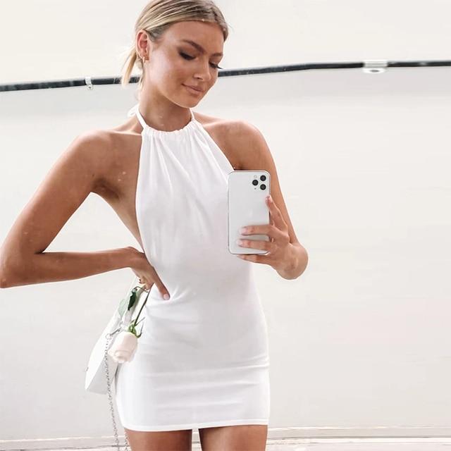 High Quality Sexy Backless Dress Women Summer Fashion Club Beach Mini Dress Casual Halter Sleeveless Soft Smooth Bodycon Dresses 3