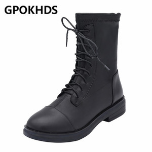 GPOKHDS 2020 kobiet botki miękka skóra bydlęca zamki zimowe krótkie pluszowe zasznurować czarny kolor okrągłe toe niskie buty na obcasie 34-40