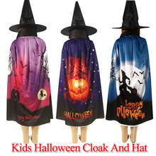 Fashion Kids Halloween Pumpkin Print Cloak Hat Cosplay Party Costume Robe Cape New children Halloween Cloak Party Accessories doctor strange cloak cosplay costume dr strange steve red cloaks magic robe halloween party long cape
