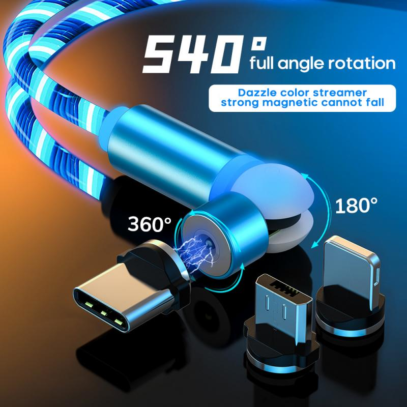 New-360-180-Degree-Rotating-Magnetic-Data-Cable-LED-Light-Charging-Cable-For-Samsung-IPhone-11
