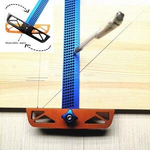 Image 1 - Règle en T à angle réglable pour travail du bois, outil de mesure de scripteur en alliage daluminium, positionnement du trou, jauge croisée 300/400mm