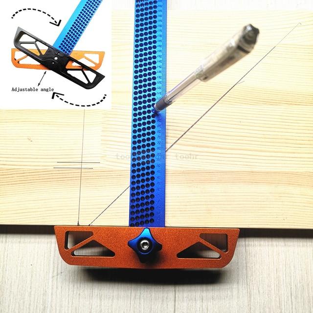 Règle en T à angle réglable pour travail du bois, outil de mesure de scripteur en alliage daluminium, positionnement du trou, jauge croisée 300/400mm