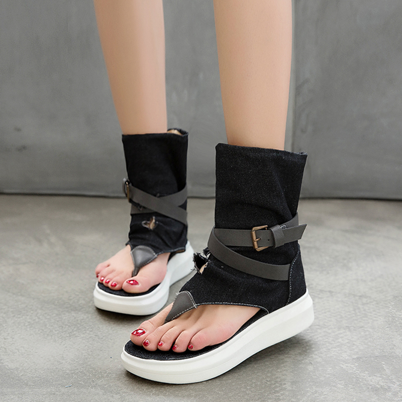 Rimocy Chunky Platform Gladiator Sandals Women Fashion Belt Buckle Rome Sandalias Woman Summer Casual Open Toe Ankle Boots Mujer