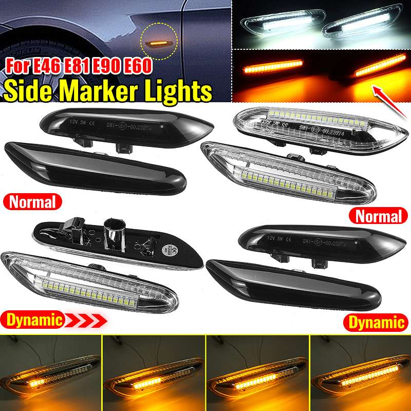 2pcs Dynamic Flowing LED Turn Signal Side Marker Light Blinker Lamp For BMW E46 E60 E61 E90 E91 E81 E82 E88 X3 X1