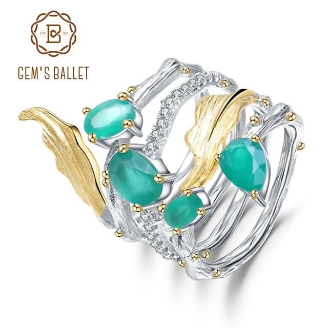 باليه من GEMS خاتم كلاسيكي من الفضة الإسترلينية عيار 925 على الطراز القوطي 2.26Ct خواتم للأصابع من الأحجار الكريمة بالعقيق الأخضر الطبيعي للنساء مجوهرات راقية