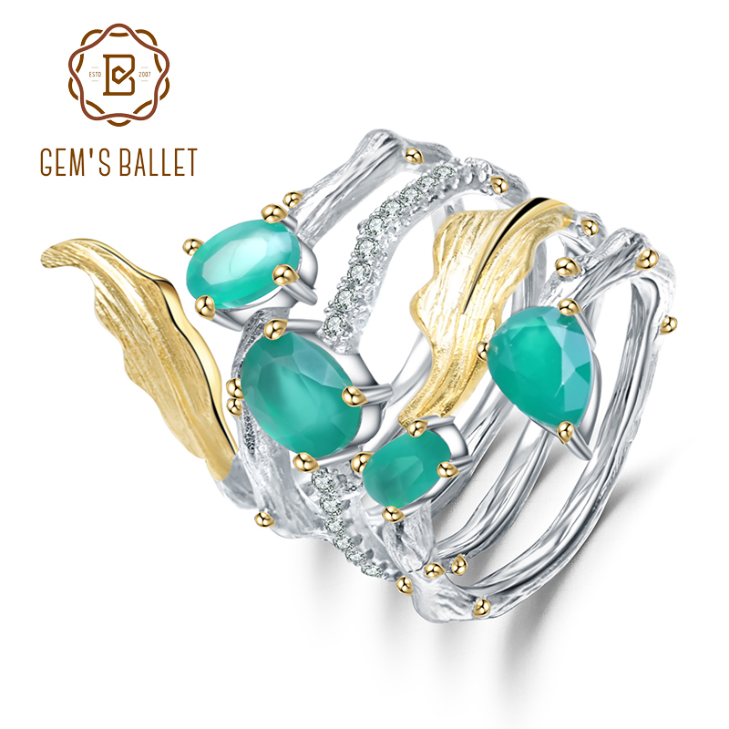 GEM'S BALLET 925 Sterling Sliver Vintage Neo-Gothic Ring 2.26Ct Natural Green Agate Gemstone Finger Rings For Women Fine Jewelry