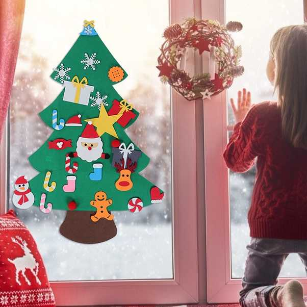 Large DIY Felt Christmas Tree Handcraft Ornaments New Year Door Wall Hanging Decoration Merry Christmas Tree Wall Stickers