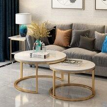 Популярный современный Мраморный Круглый журнальный столик для гостиной 2 в 1, комбинированный чайный столик, женский стол