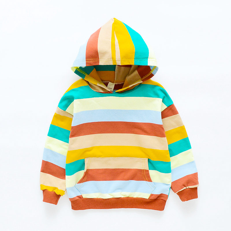 Hoodies Baby Sweatshirts Clothing Boys Cotton Casual Striped for Rainbow Colored Spring