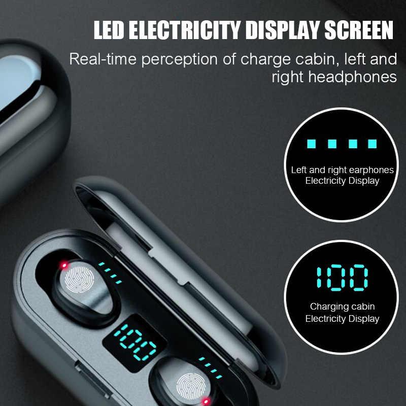 8D Stereo bass bezprzewodowe słuchawki Bluetooth 5.0 słuchawki douszne sterowanie dotykowe bezprzewodowe słuchawki sportowe zestaw słuchawkowy do iPhone'a Xiaomi Huawei