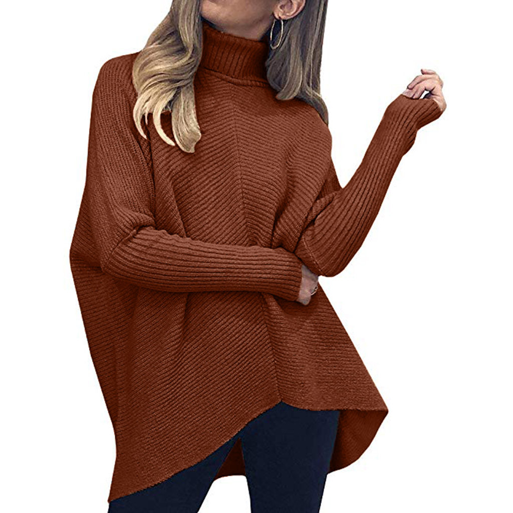 Oversized Sweaters Women TurtleneckKnitted Pullovers Lady Winter Batwing Sleeve Thick Jumper Loose Tops Warm Long Knits Casual