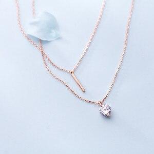 Image 3 - WANTME Fashion Echtes 100% 925 Sterling Silber Doppel Kreuz Seil Schlüsselbein Kette Runde Kristall Zirkon Anhänger Halskette Frauen