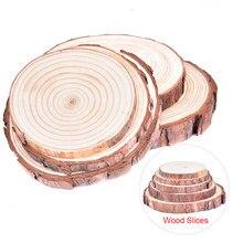 1pc 8-16cm natural pinho redondo inacabado fatias de madeira círculos com casca de árvore discos de registro diy artesanato festa de casamento pintura