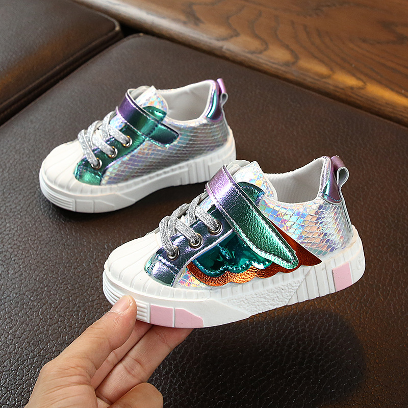 Children Shoes Girls Casual Shoes Sequin Wings Flat Gold Pink Kids Shoes Baby Toddler Girls Sneaker Fashion Boys Trainers School