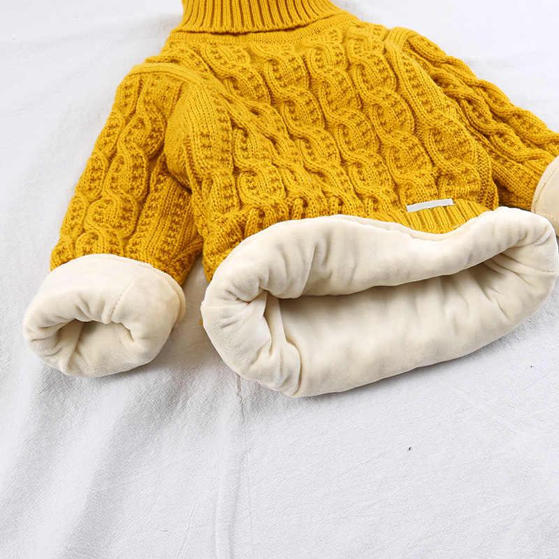 FILOLOGIE Pluche binnenkant pure kleur winter jongen meisje kid dikke Gebreide coltrui shirts solid hoge kraag trui pluis trui