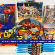 Blaze and the Monster Machines juego para fiesta de cumpleaños, decoraciones, vasos de papel, suministros para fiesta de día de niños, Coche