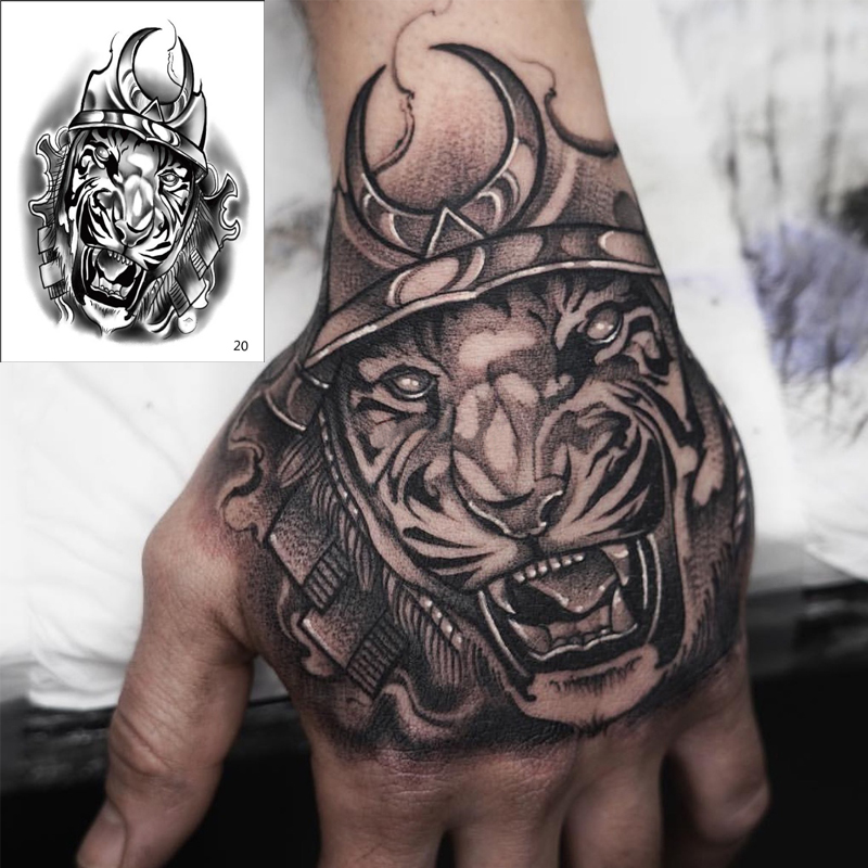 Temporary Tatoo Men Horror King Tiger Temporary Tattoo Boy Waterproof Hand Tatoo Rose Mouth Robot Tattoo Sticker Water Transfer
