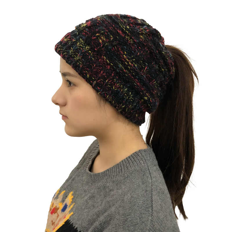 Lembut Merajut Ekor Kuda Beanie Musim Dingin Topi untuk Wanita Wol Cap Stretch Crochet Bun Berantakan Holey Topi Kasual Skullies Beanies Gadis topi