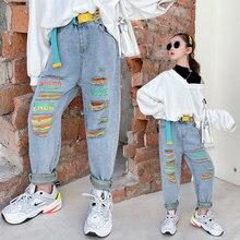 Kids Denim Trousers Children's Clothing Korean Fashion High Waist Belt Jeans Slim Color Hole Ripped Pants for Teen Girls 5-14Yrs