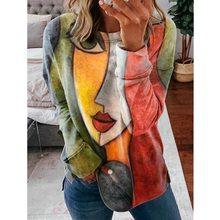 2021 Casual kadın T-Shirt o-boyun baskılı kadın kazak Tee gömlek yeni moda gevşek uzun kollu bayan T Shirt