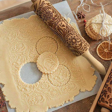 Wooden Christmas Snowflake Pattern Rolling Pin For Dough 35*5cm Baking Biscuit Noodle Biscuit Fudge Cake Patterned Roller Pastry