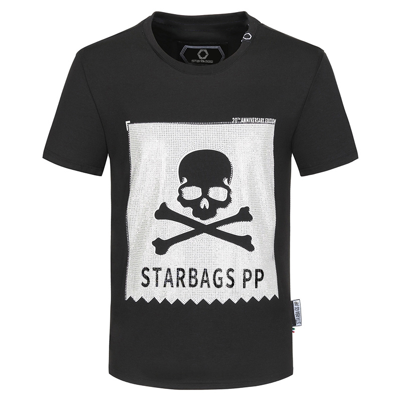 STARBAGS PP 2020Short sleeve T shirt men's skull hot drill summer cotton fashion undergarment new trend