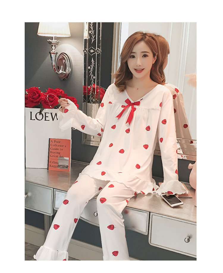 Autumn Women Cotton Pajamas Sets 2 Pcs Cartoon Printing Pijama Pyjamas Long Sleeve Bowknot Pyjama Sleepwear Sleep Set 50