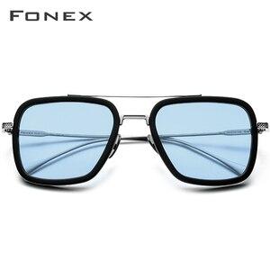 Image 2 - FONEX Pure Titanium Acetate Polarized Sunglass Men Retro Tony Stark Sunglasses New Vintage Edith Sun Glasses for Women 8512