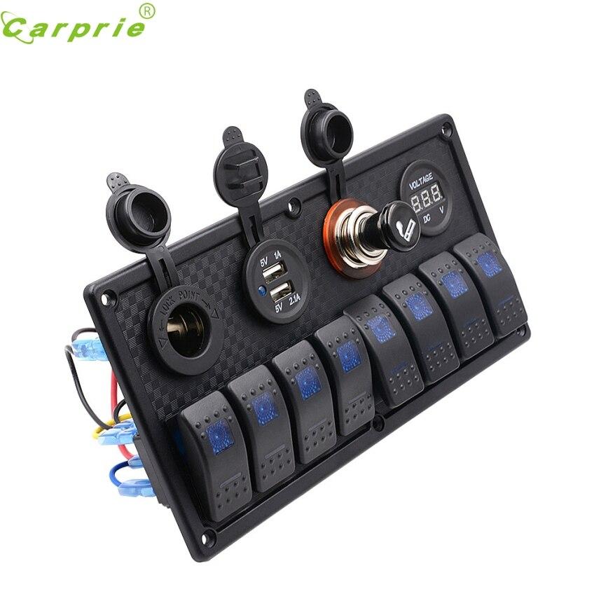 Franchise 8 Gang étanche Marine bleu panneau de commutateur Led avec prise de courant voltmètre PA66 accessoires de voiture de moto