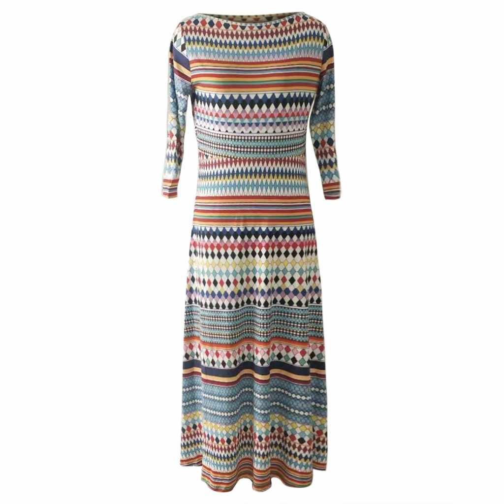 Этническое цветное Полосатое лоскутное печатное женское длинное платье размера плюс с круглым вырезом с длинным рукавом ДРАПИРОВАННОЕ свободное арабское платье # L40
