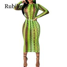 Rubilove 2019 Women Party Club Dress Summer Sexy Sheer Bandage Bodycon Long Sleeve Neon Green Snake Print Transparent Mesh